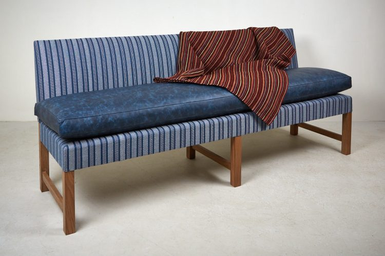 Banquette – Blue Leather and Stripes-0003