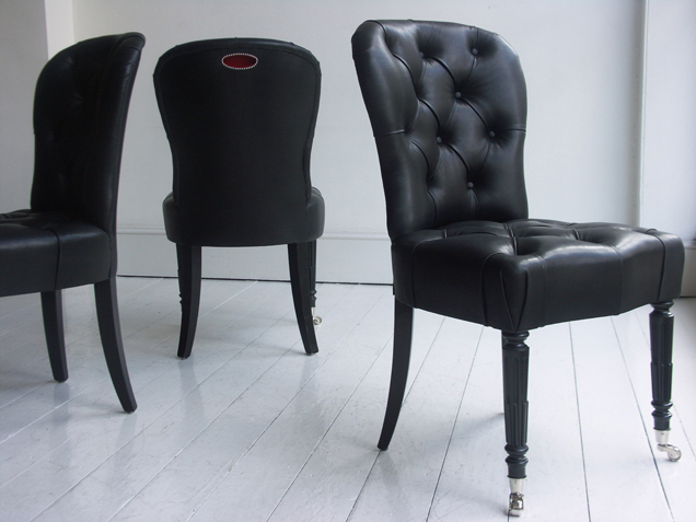 Salon Chair in Black Leather