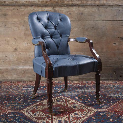 Blue-Leather-Salon-Armchair-0002-1