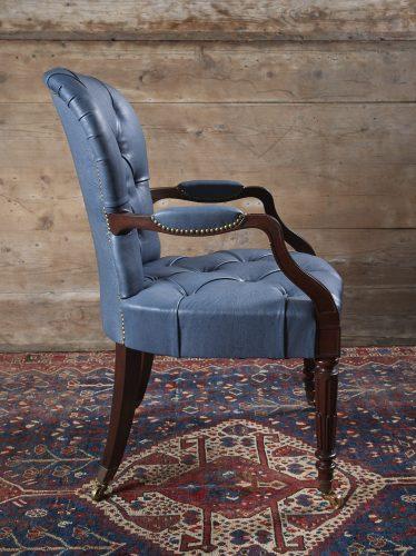 Blue-Leather-Salon-Armchair-0007