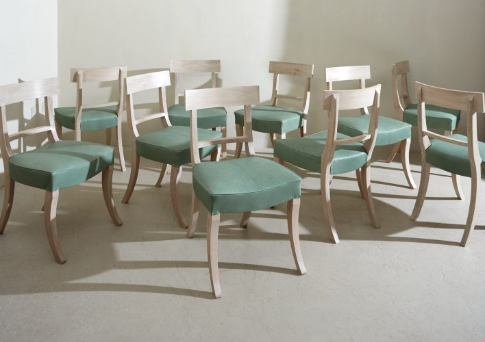 Grecian Chair Lime Wash Green Leather-0001
