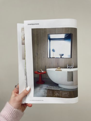 Red Bobbin Side Table or Bedside Table Styled In Bathroom In Homes and Gardens Magazine