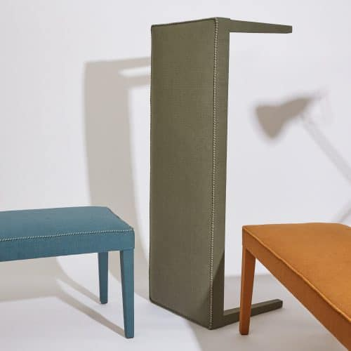 Howe Silhouette Bench, covered in Ripstop canvas from Howe at 36 Bourne Street