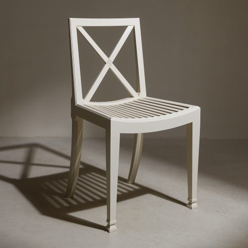 Orangerie Chair I With Slatted Seat And Cross-Back. Suitable As An Outdoor Dining Chair. Shown Here in White.