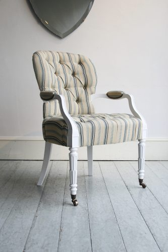 Salon-Carver-painted-white-striped-fabric
