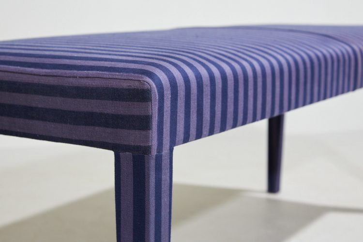 Howe Silhouette Bench, covered in striped vintage Swedish cotton ticking