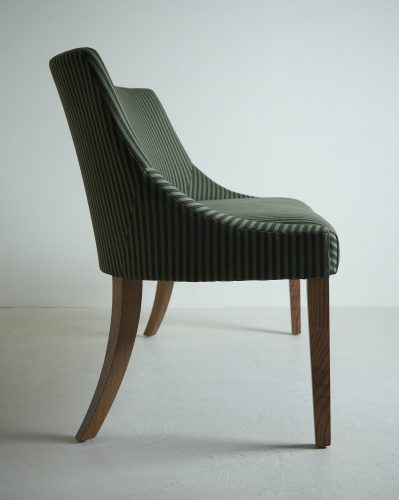 Spoonback Bench Upholstered In Bourne Street Fabric. Featuring Tapered Oak Legs. Perfect For Entrance Halls, Sitting Rooms or Around The Dining Table
