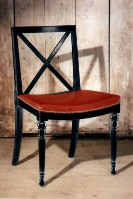 Black Crossback Orangerie Chair With Upholstered Red Saddle Seat.