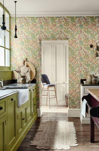 Camembert Bar Stool in 'Stained' finish, in Little Greene 'Pomegranate Bazaar' interior