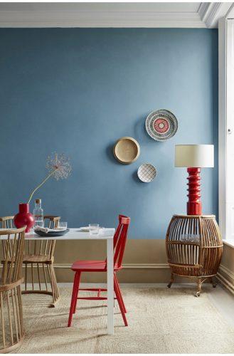 Flip Chair in oak finish in Little Greene 'Blue Verditer Dining Room'