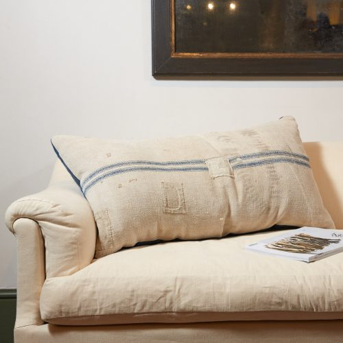 HB900258 – Antique French Linen Grain Sack Cushion-0001