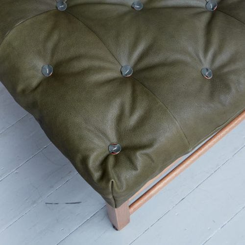 Gainsborough Stool – Green Leather-0011 1
