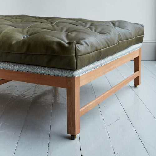 Gainsborough Stool – Green Leather-0014 1