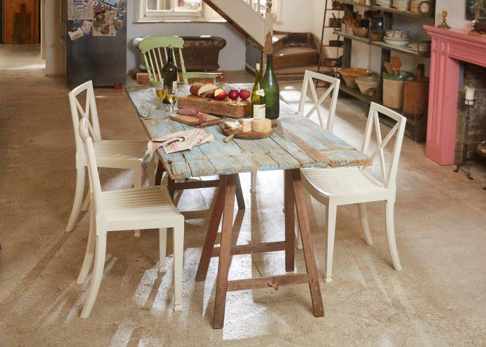 HL4680 – Trestle Table Painted Blue-0005