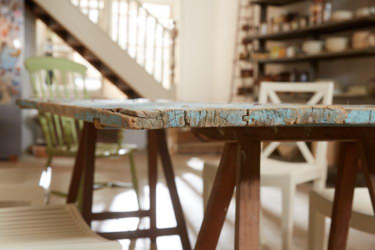 HL4680 – Trestle Table Painted Blue-0021