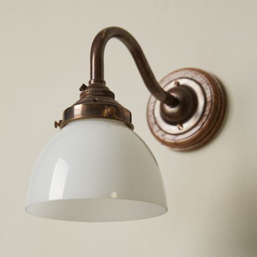 Swan Neck Sconce with Glass Shade-0007