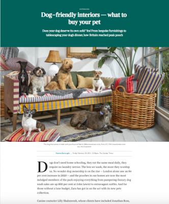 Screenshot of The Times (Sunday Times, Times, Times 2). Featuring Dogs, Dog Bed, Sofa and Other Christopher Howe Pieces.
