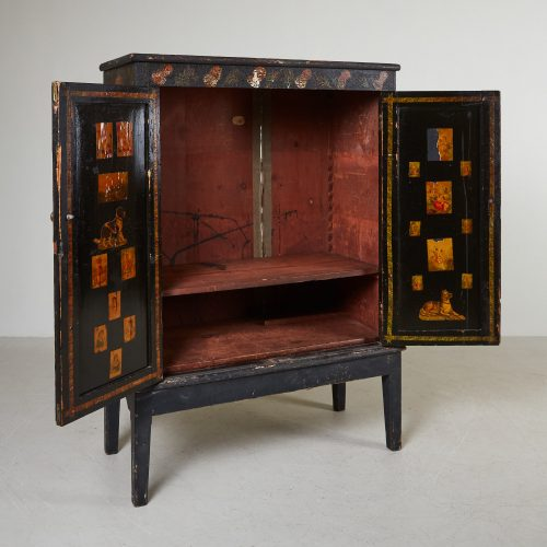 HL4780 – Small Georgian Black Painted Cupboard-0003
