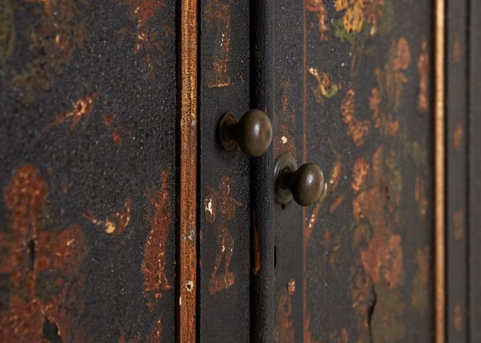 HL4780 – Small Georgian Black Painted Cupboard-0019