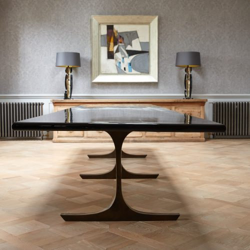Long Black Lacquered Dining Table-0010