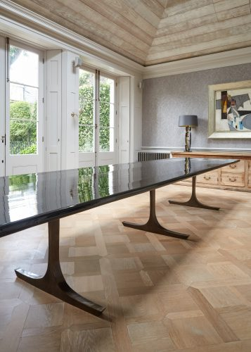 Long Black Lacquered Dining Table-0017