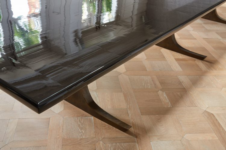 Long Black Lacquered Dining Table-0019