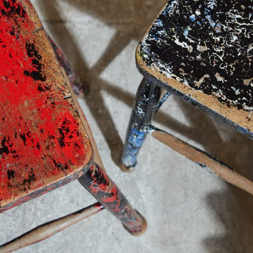 HL5389 – Pair of Painted Stools-0004